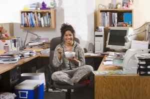 woman working in pajamas at home office - Working In Home Office